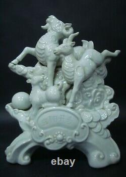 Très Rare Grand 3,2 KG Lourd Vieux Chinois Trois Porcelaine Statue Sculpture Sheeps