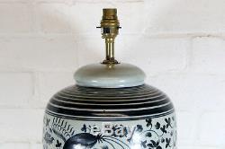 Un Grand Cru Oriental Chinois Lampe De Table Bleue Crackle Glaze Antique Style