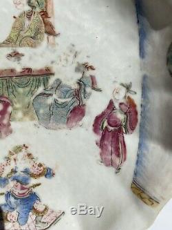 Un Grand Rarissime Chinois Antique Tongzhi Bowl Plate Figures Pieds Et Mark