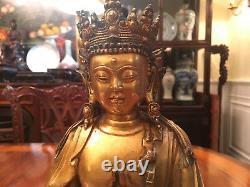 Une Excellente Grande Dynastie Chinoise Qing Gilt Bronze Guanyin Statue, Marquée