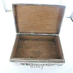 Une Grande, Argent Sterling Antique, Boîte Chinoise De Babiole Articulée