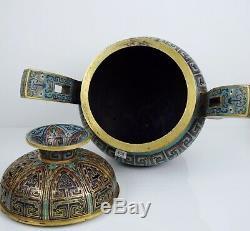 Une Grande Encensoir Et Couverture En Trépied De Chine Cloisonné