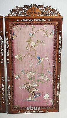 Une Grande Paire De Panneaux De Soie Brodés, Nacre De Cadres En Perles. Dynastie Qing