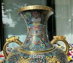Une Grande Poignée Vase Cloisonné ' Chinese'dragon