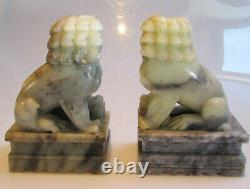 Une Paire De Grands Chiens Chinois Crus De Fu De Jade 3.4kg