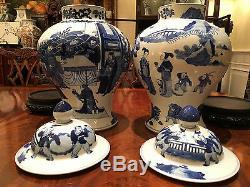 Une Paire Grandes Et Rares Chinois Kangxi Des Qing Style Bleu Et Blanc Temple Jars