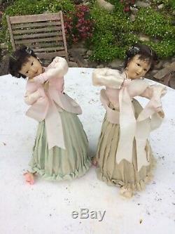 Unique Et Rare Paire De Grandes Poupées De Danse Antique Vintage Automated Chinois