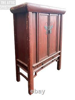 V Grand Cabinet De Mariage Oriental Chinois Rouge Antique, Tiroirs D'armoire De Stockage