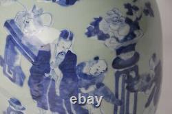 Vase Chinois Antique 19ème Siècle En Porcelaine Bleue Et Blanche Céladon Grand Vase
