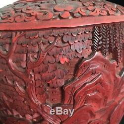 Vase Chinois Cinabre 19ème Siècle Laque Rouge Sculpté À La Main Grand Urne 12 Grand