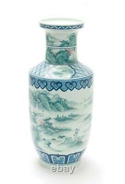 Vase Chinois De Porcelaine Jade Spring Hill À Teal Avec Yongzheng Reign Mark