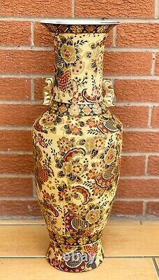 Vase Chinois Vintage Porcelaine Orientale Plancher Asiatique Grand 24 Ins Tall