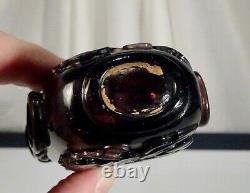 Verre Violet Grand Sculpté Chinois Snuff 4,75 12cm Bouteille 56672
