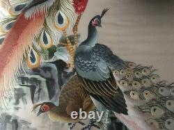 Very Large Antique / Vintage Chinois Silk Needlework Embroidery Panel / Scroll