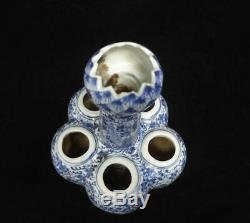 Vieux Grand Bleu Chinois Et Cinq Blancs Tubes En Porcelaine Lotus Vase Kangxi Marques