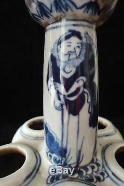 Vieux Grand Bleu Chinois Et Porcelaine Lotus Blanc Vase Signé Kangxi