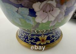 Vintage 20ème Original Chinois Cloisonné Grand Vase Oiseaux Fleurs Butterfly Stand