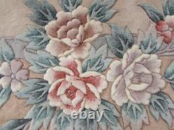 Vintage À La Main Art Déco Chinese Rose Laine Beige Grand Tapis 305x245cm