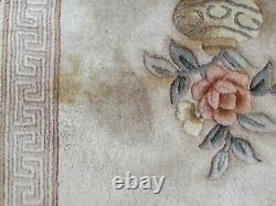 Vintage À La Main Art Déco Tapis Chinois Laine Beige Grand Tapis De Rug 345x260cm