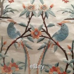 Vintage Chinese Broderie De Soie Photo / Large / Love Birds / Fleurs Cadre