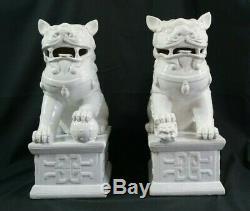 Vintage Chinoises Porcelaine Blanche Foo Dogs, 17 H Grande Paire Bateau Libre