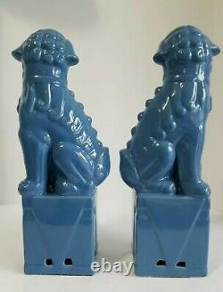 Vintage Foo Dogs Figurine Set 13 Bleu Ceramic Chinese Guardian Lion Pair Large