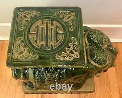 Vintage Grand 1970 Ceramic Elephant Garden Stool / Table D'côté