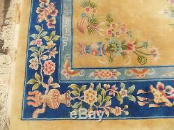 Vintage, Grand, Chinois, Floral, Laine, Poil Épais, Tapis, 12 'x 9', Grand Tapis, Jaune