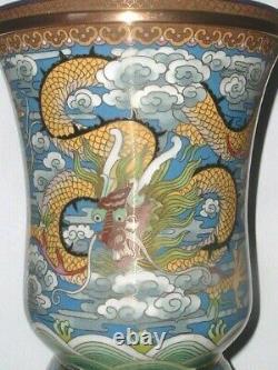 Vintage Grand Dragon Chinois Nuages Lotus Cloisonne Vase C1920