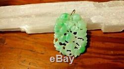 Vintage Grand Jadéite Pendentif De Jade Sculpté 14k Liberté Sous Caution