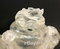 Vintage Grand Rock Chinois Cristal Sculpté Navire