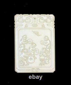 Vintage Grand Sculpté Chinois Inscrit Garçons Jouant Jade Pendentif De Plaque De Suspension