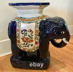 Vintage Grandes Années 1960 Vietnamien Céramique Eléphant Plant Stand / Table Latérale