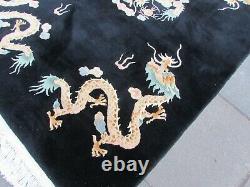 Vintage Hand Made Art Déco Chinese Carpet Black Wool Large Rug 247x154cm Dargon