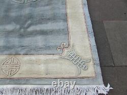 Vintage Hand Made Art Déco Chinese Carpet Blue Wool Large Rug Carpet 275x179cm