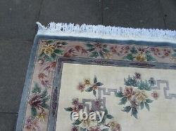 Vintage Hand Made Art Déco Chinese Carpet White Wool Large Rug Carpet 275x185cm