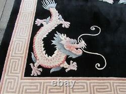 Vintage Hand Made Art Déco Chinese Oriental Black Wool Grand Tapis 367x273cm