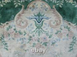 Vintage Hand Made Art Déco Chinese Oriental Green Wool Grand Tapis 338x248cm