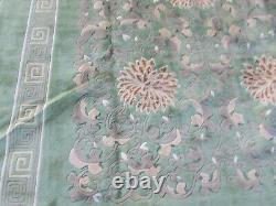 Vintage Hand Made Art Déco Chinese Oriental Laine Verte Grand Tapis 336x246cm