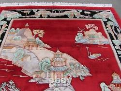 Vintage Hand Made Art Déco Chinese Oriental Red Wool Grand Tapis 320x250cm