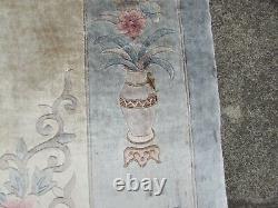 Vintage Hand Made Art Déco Chinese Oriental Silk Blue Grand Tapis 356x268cm