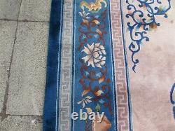 Vintage Hand Made Art Deco Chinois Beige Bleu Laine Grand 450x304cm Tapis