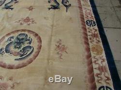 Vintage Hand Made Art Déco Oriental Chinois Beige Laine Grande 367x269cm Tapis