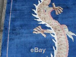 Vintage Hand Made Art Déco Oriental Chinois Bleu Soie Grand 355x265cm Tapis