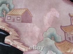 Vintage Hand Made Art Déco Oriental Chinois Noir Laine Grand 488x305cm Tapis