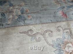 Vintage Hand Made Art Déco Oriental Chinois Soie Bleu Grand 356x268cm Tapis