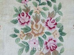 Vintage Hand Made Laine Art Déco Oriental Chinois Vert Grand 340x245cm Tapis