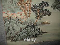 Vintage Japonais Ou Chinois Scroll-painted Montagne Scène-signed & Marqué-large