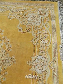 Vintage, Jaune, Chinois, Grand, Laine, Floral, Tapis, 9 'x12', Taille De La Pièce, Grand Tapis