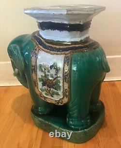 Vintage Large 1960s Vietnamienne Ceramic Elephant Plant Stand / Table Latérale